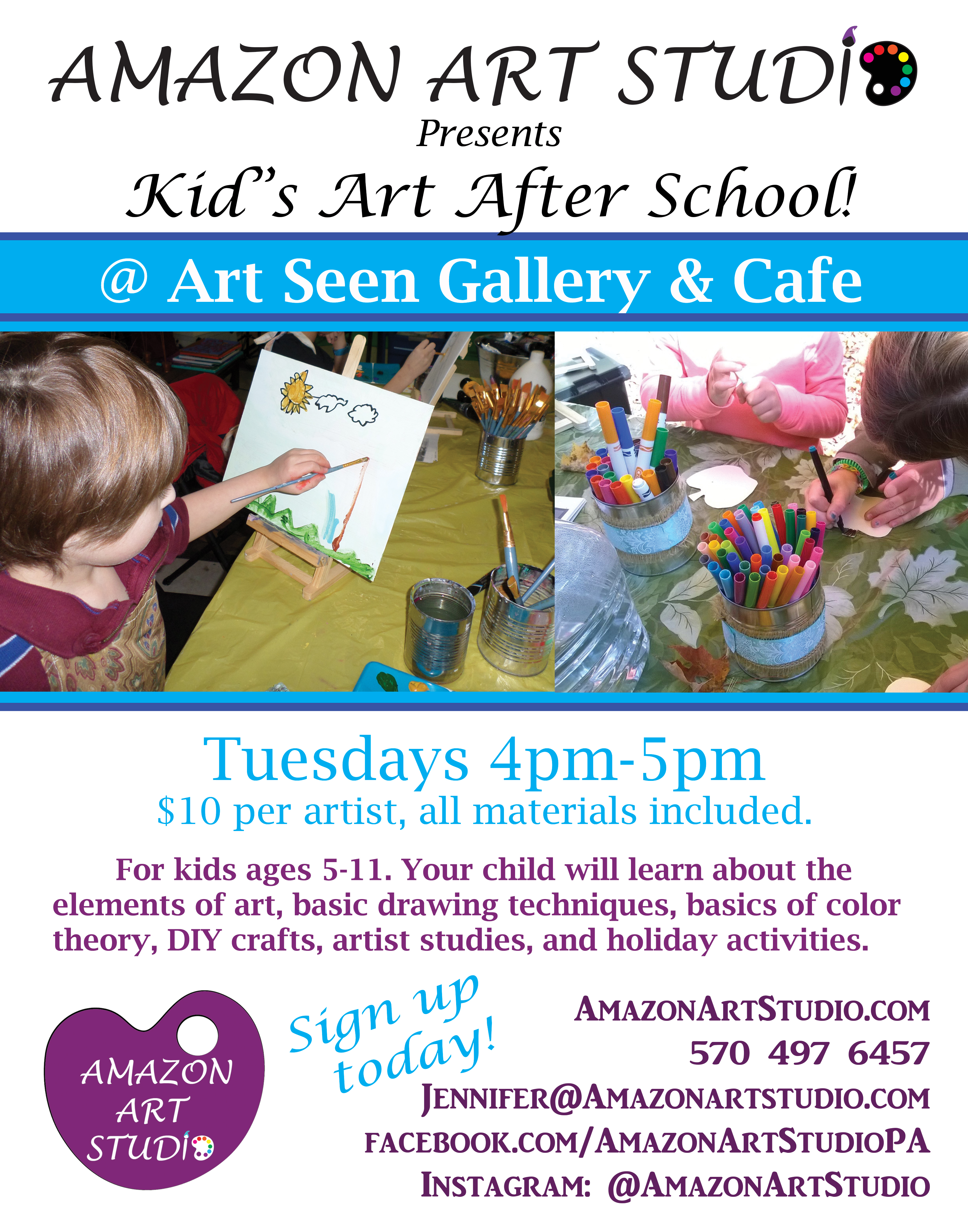 Classes Kick Off Kids Art Class Poster